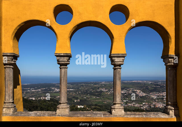 View from a balcony at Pena National Palace at Sintra near Lisbon in Portugal.  A UNESCO World Heritage Site. - Stock Image