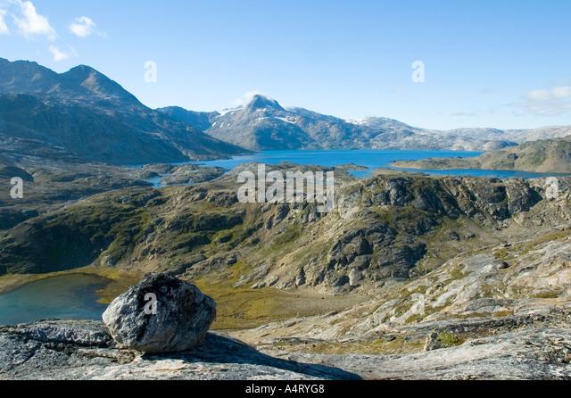 The lake of Qordlortoq Sø, Angmagssalik Island, Sermilik Fjord, East Greenland - Stock Image