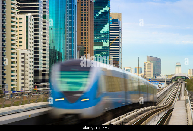World Trade Centre Metro Station from Emirates Towers Metro Station, Dubai, United Arab Emirates, Middle East - Stock Image