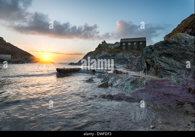 The net loft at Polperro in Cornwall - Stock Image