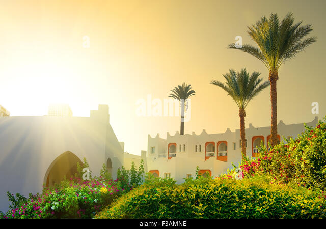 Bright morning sun in Egyptian resort hotel - Stock-Bilder