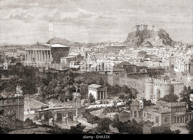 A view of ancient Athens, Greece. - Stock Image