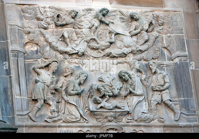 Relief of the adoration of the shepherds, relief of the Front of the chapel of El Salvador of Ubeda, Jaen province, - Stock Image