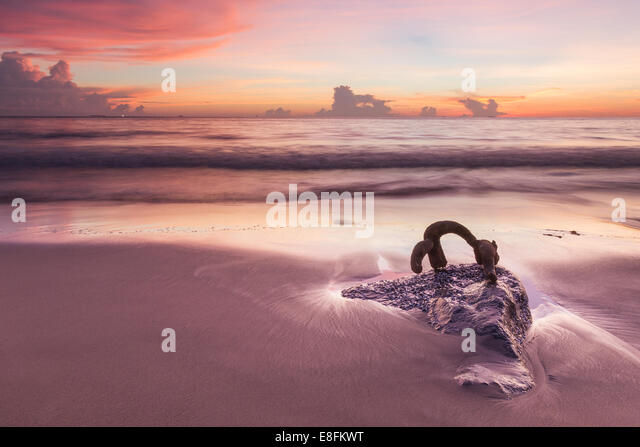 Indonesia, Padang, Beach at sunset - Stock Image