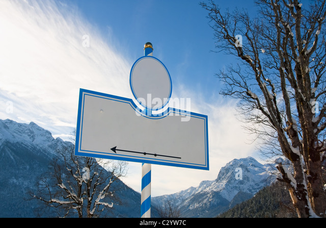 Bavarian sign with the moutains reiteralpe and hochkalter, Bavaria, Germany - Stock Image