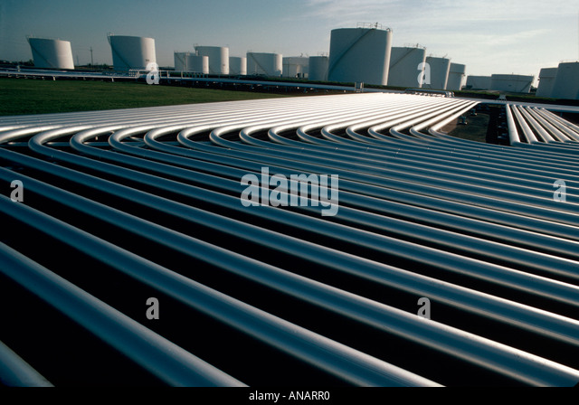 North Dakota Fargo Williams Pipeline Company petroleum storage tanks pipes - Stock Image