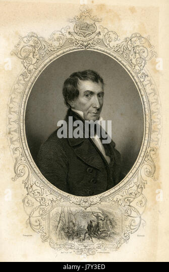 Antique c1860 engraving, William Henry Harrison. William Henry Harrison Sr. (1773-1841) was the ninth President - Stock Image