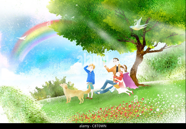 Family In Garden - Stock Image