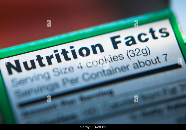 Close-up of nutrition information - Stock Image