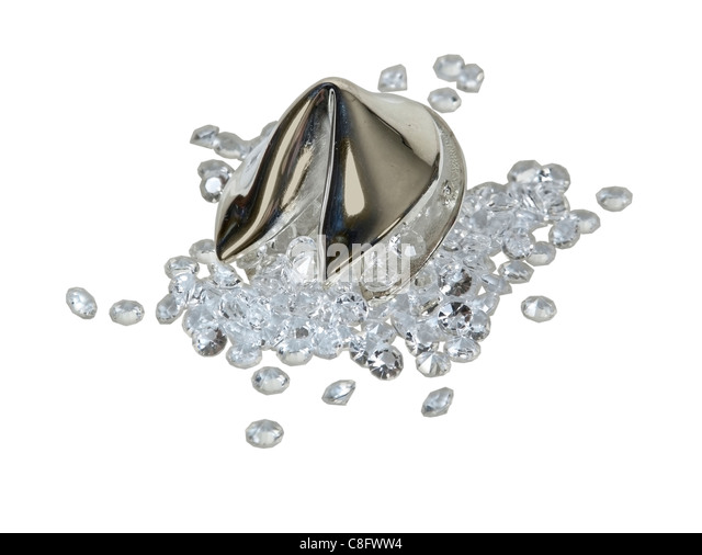 Diamonds spilling out of a silver fortune cookie for obtaining the fortune of the future - path included - Stock Image