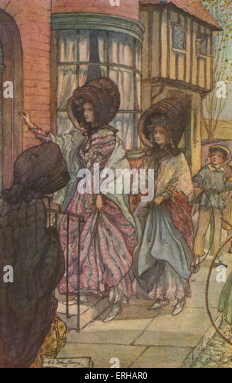 Cranford by Elizabeth Gaskell. Illustrations by M V Wheelhouse (1895-1933). Caption reads: The spring evenings were - Stock Image