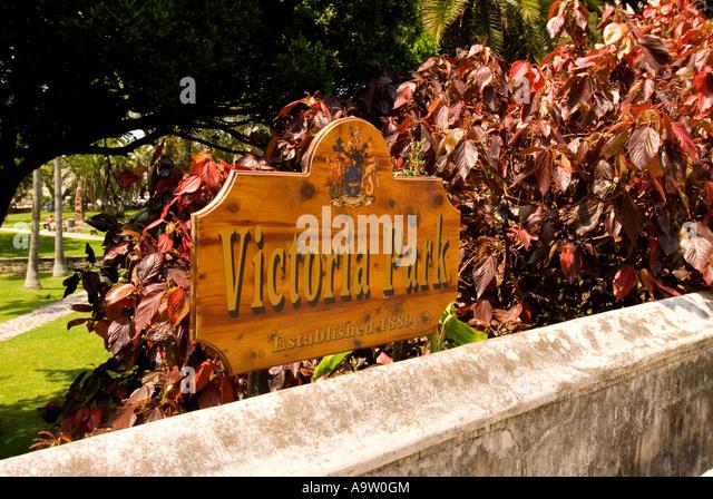 Bermuda Hamilton Victoria Park sign - Stock Image