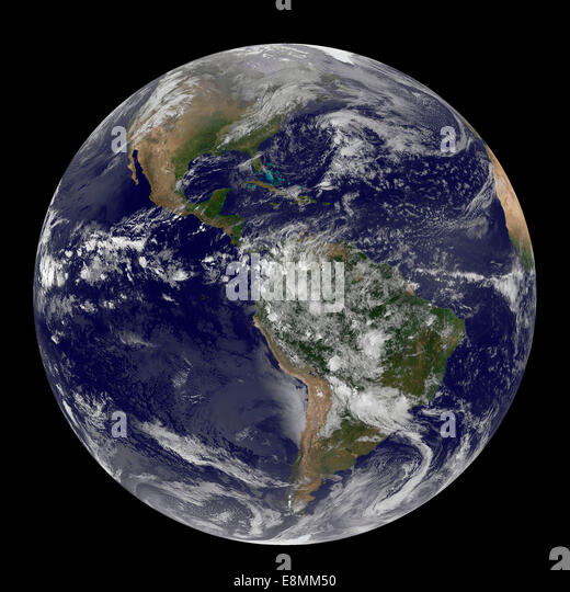 April 22, 2014 - Satellite view of the Americas on Earth Day. - Stock Image