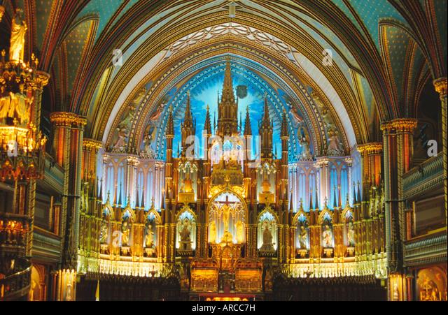 Interior, Basilica of Notre Dame, Montreal, Quebec Province, Canada - Stock Image
