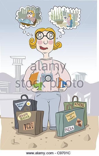 vacation planning Woman - Stock-Bilder