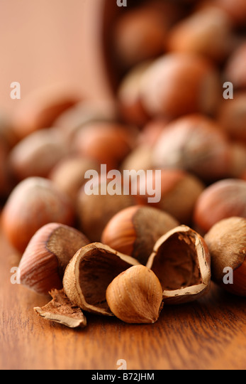 Hazelnuts selective focus - Stock Image