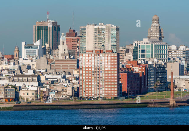 Montevideo cityscape from port district - Stock Image
