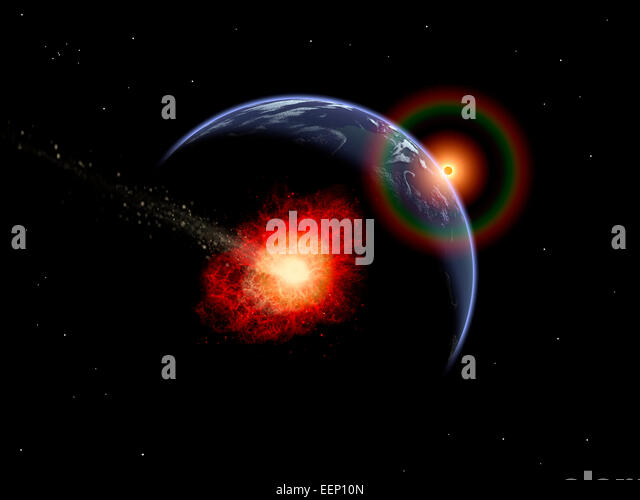 Asteroid Impact In Earths Distant Past. - Stock Image