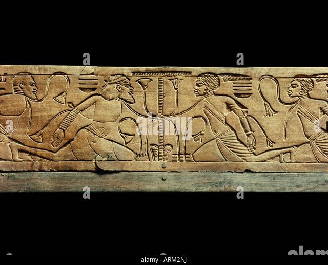 Detail from the ceremonial footstool of the king showing the enemies of Egypt conquered and beneath the yoke of - Stock Image