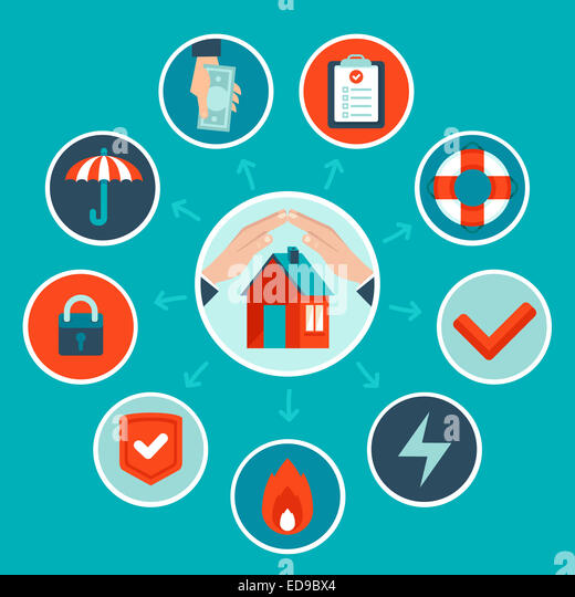 House insurance concept in flat style - infographic design elements and icons - Stock-Bilder