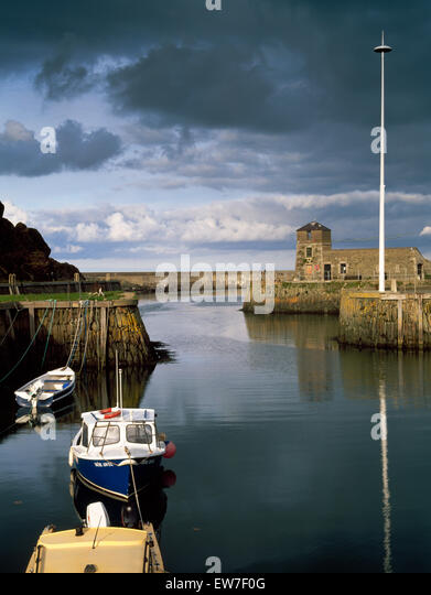 From the late 1700s Amlwch Port, Anglesey, developed as the harbour for Parys Mountain copper mines. Pier & - Stock Image