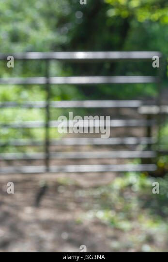 Soft-focus shot of country gateway. - Stock Image