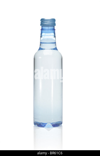 Plastic bottle of mineral water on white background - Stock Image