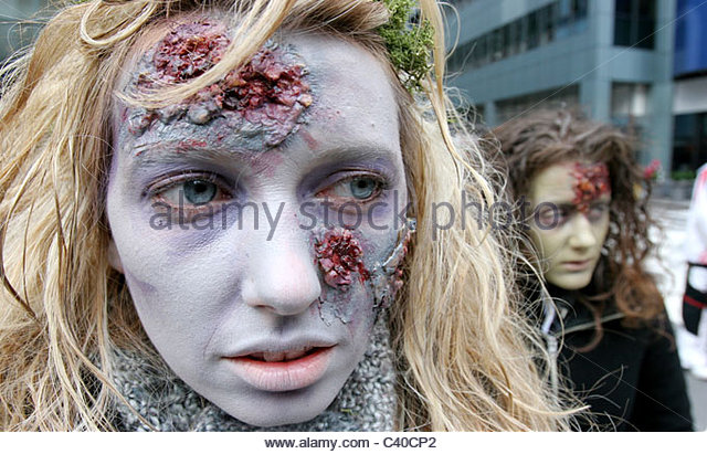 Zombies appear from the subway in Manhattan, New York, USA - Stock Image