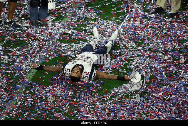 Glendale, Arizona, USA. 01st Feb, 2015. New England Patriots outside linebacker Jonathan Casillas #52 celebrates - Stock-Bilder