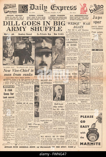 1941 front page Daily Express Re-shuffle in high command of the British Army - Stock Image