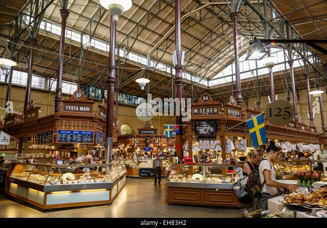 Ostermalmshallen indoors food market, Stockholm, Sweden, Scandinavia, Europe - Stock Image