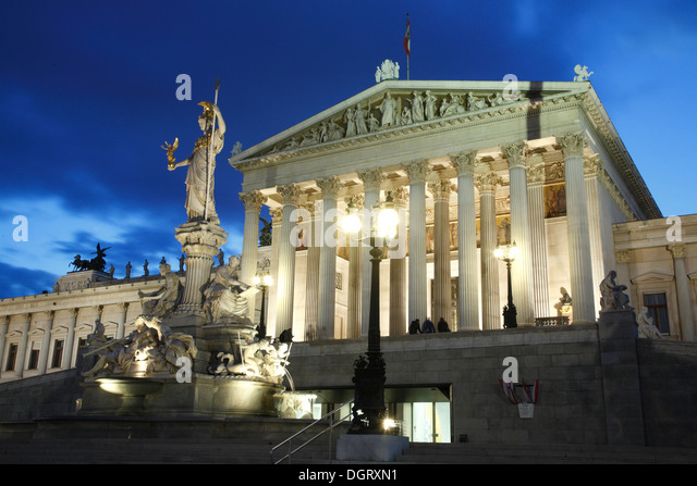 Parliament building in the evening, Vienna, Austria, Europe - Stock Image