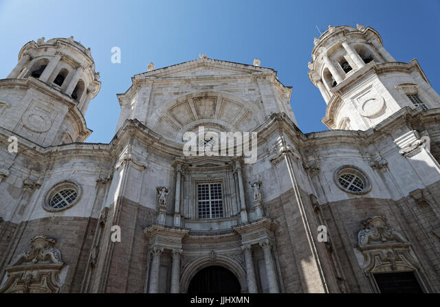 Exterior view of the frontal facade of Cadiz Cathedral (Catedral de Santa Cruz de Caziz) - Stock Image