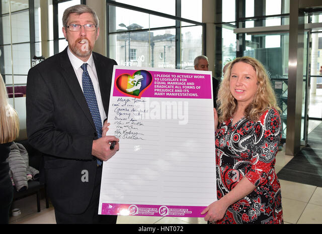 Armagh City, UK. 15th February 2017. Upper Bann Sinn Féin Election Candidates John O'Dowd and Nuala Toman - Stock Image