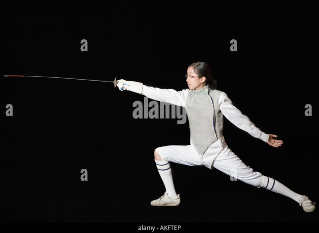Male fencer fencing - Stock Image