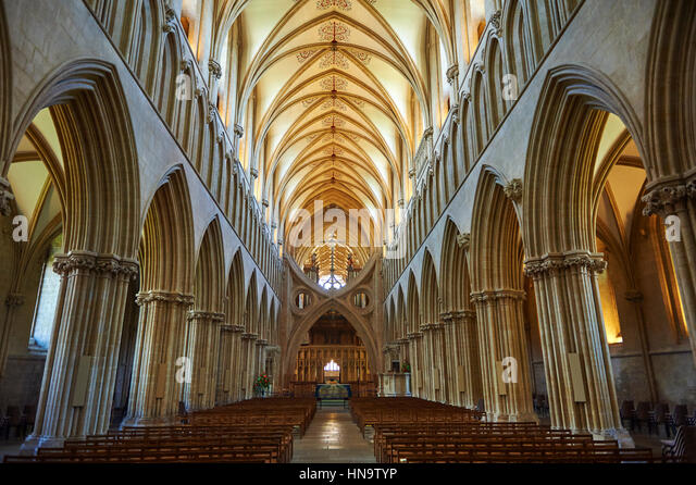 Interior of the the medieval Wells Cathedral built in the Early English Gothic style in 1175, Wells Somerset, England - Stock-Bilder