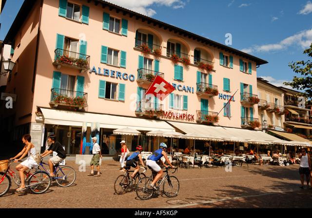 Switzerland Ticino Ascona Promenade Albergo Carcani - Stock Image