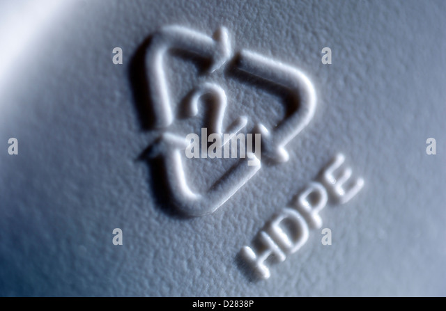 Close up of recycle symbol on gray plastic container - Stock Image