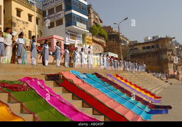 World Water Day, Varanasi, India, school children raising awareness about the need for clean water - Stock Image