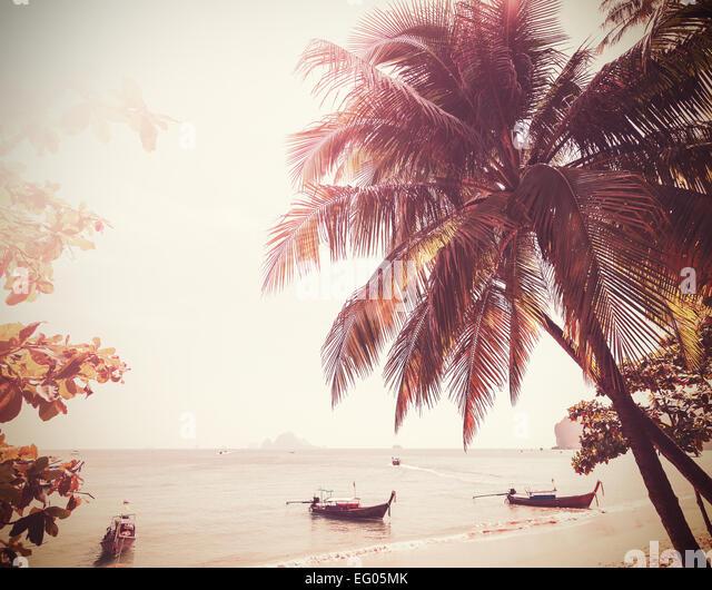 Vintage stylized photo of a beach, nature background. - Stock Image