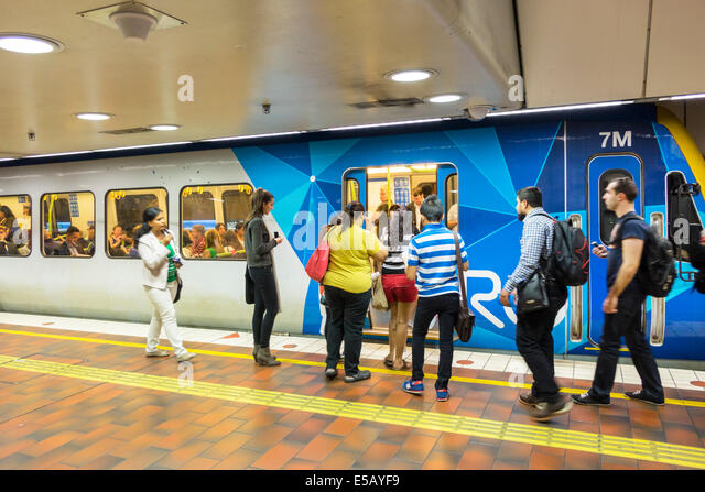 Melbourne Australia Victoria Central Business District CBD Central Station platform railway station metro network - Stock Image