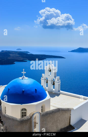 Aghioi Theodoroi church at Firostefani on Santorini one of  Cyclades islands in Aegean Sea, Greece. - Stock Image