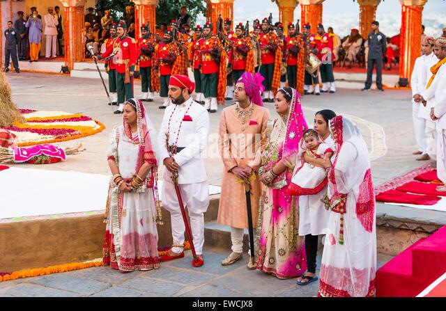 Royal family members waiting for the arrival of the Maharana Rana Sriji Arvind Singh during the Holi festival, City - Stock Image