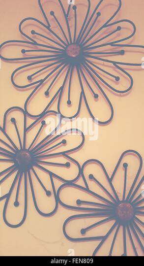 Floral Patterns On Wall - Stock Image