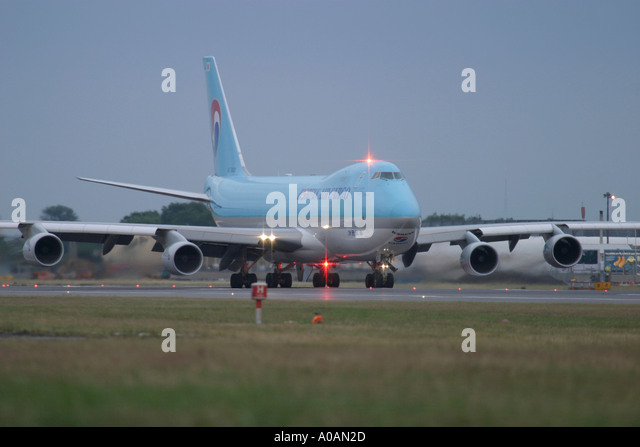 Korean Air Cargo Boeing 747 4B5F SCD at London Heathrow UK - Stock Image