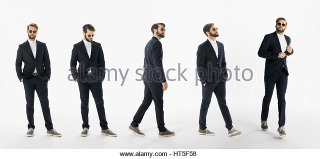 Sequence cool businessman against white background - Stock-Bilder