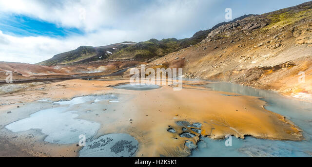 Steaming ground, Seltún geothermal area, Krýsuvík volcanic system, Reykjanesfólkvangur conservation - Stock Image