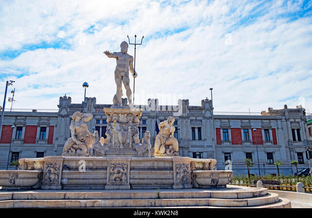 sculpture of neptune in the city of messina on the island of sicily, italy. - Stock Image