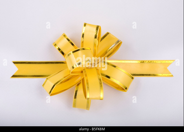 yellow christmas gift ribbon and bow - Stock-Bilder