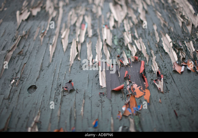 Peeling colour paint study decay textures - Stock Image